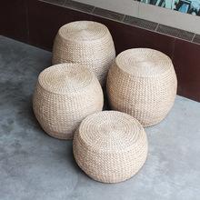 草編坐墩 換鞋凳榻榻米圓凳 客廳矮凳實木板凳沙發凳小凳子 鼓凳