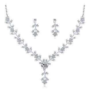 Bridal Wedding Necklace Set Accessories High-end Catkins Crystal Necklace Earrings Jewelry Set One Drop Shipping
