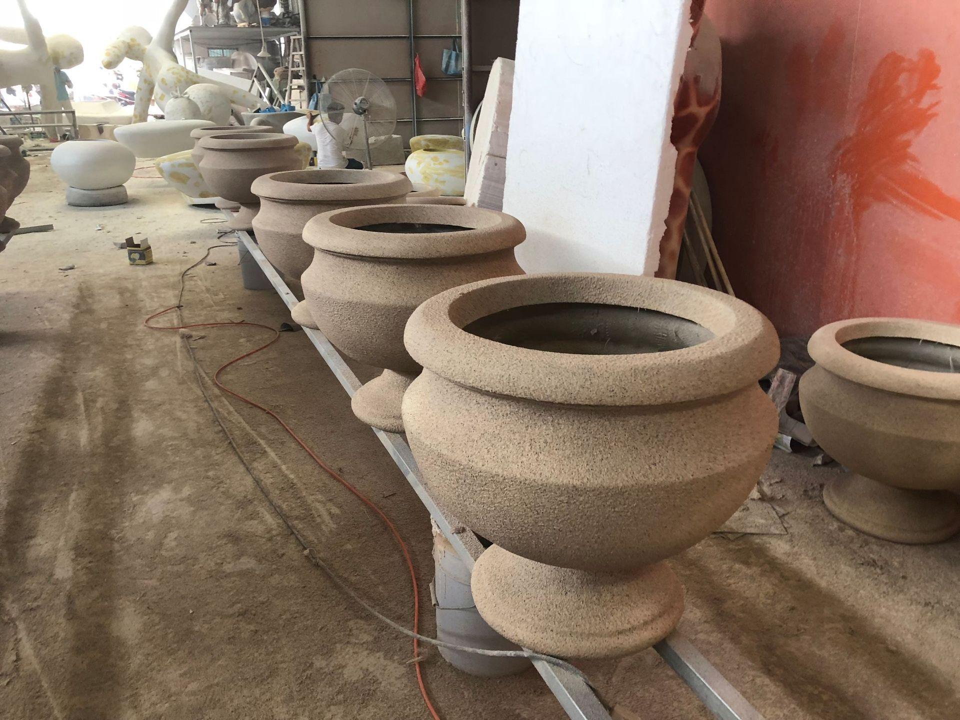 人造砂岩盆景容器花盆花钵路面景观种植花盘花钵花箱沙岩材质定制