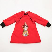 新年裝唐裝冬季女孩童中國風扮裝娃娃旗袍2018古風龍鳳呢上衣裙子
