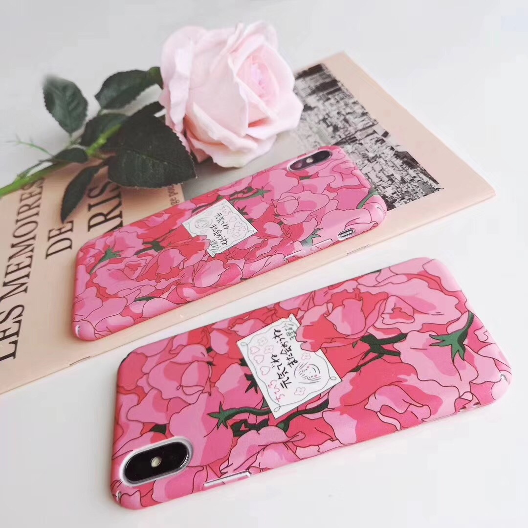 Ins girl with pink petals for apple x phone case iPhone8/7plus/6s protective case hard shell