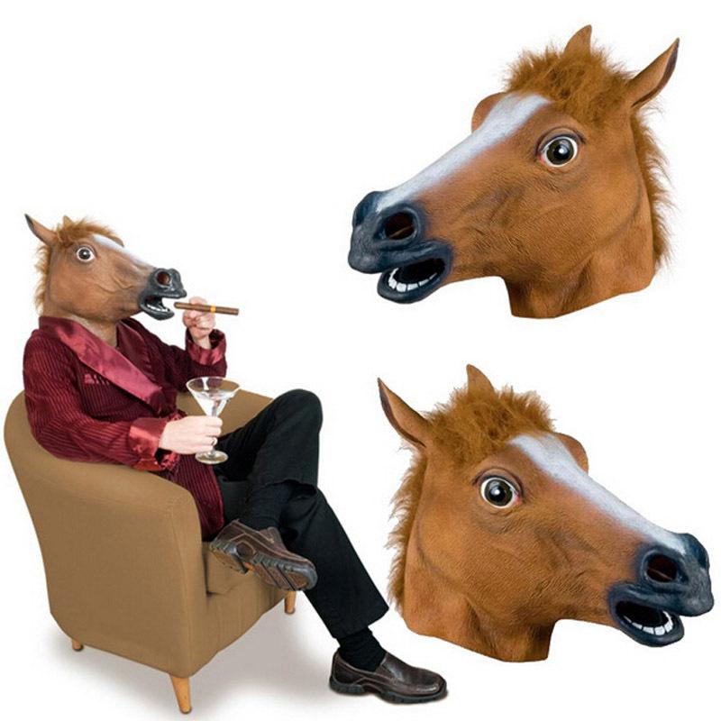 马头面具 cosplay化妆舞会 搞怪搞笑万圣节马头面具头套  犬马君