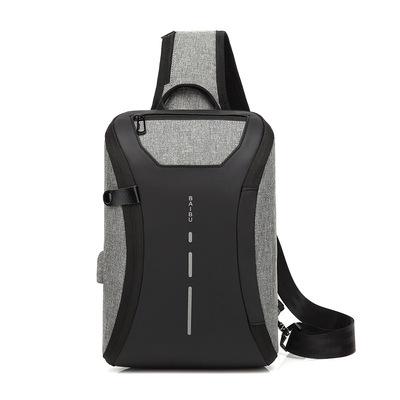 夏季创意一片式男士胸包  USB充电户外休闲多功能斜挎包一件代发