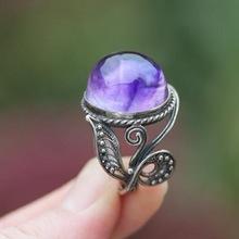 臻荣 wish热卖新款天然紫水晶戒指 欧美复古泰银镶钻指环银?#36136;?#21697;