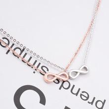 L56 工廠直銷 招財鈦鋼8字短款鎖骨項鏈 18K玫瑰金裝飾品