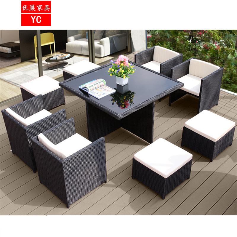 户外藤椅 休闲桌椅组合咖啡厅酒吧室外露台别墅庭院花园 阳台桌椅