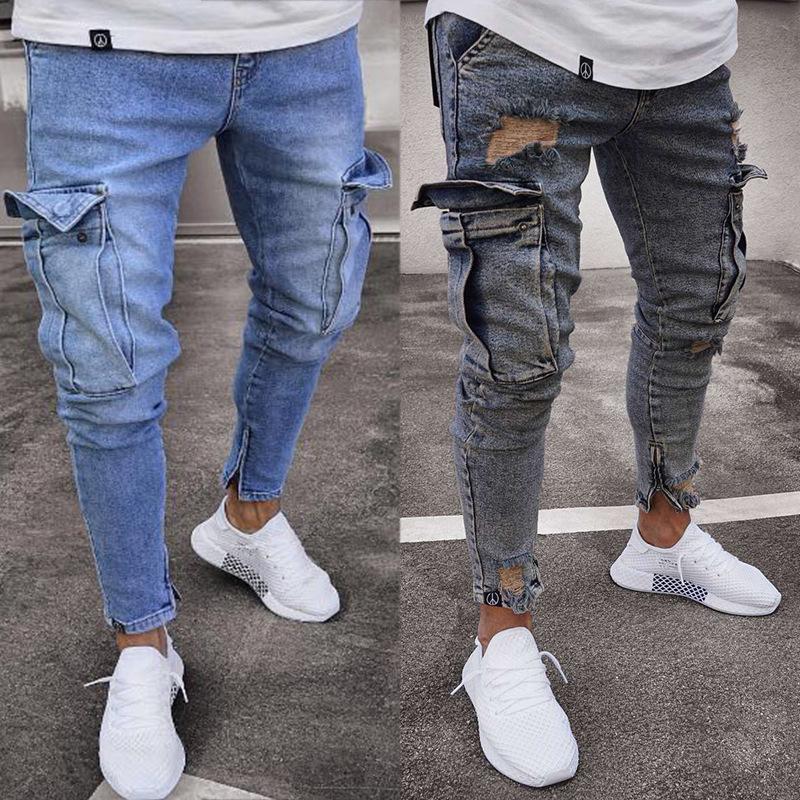 Men's Stretch Jeans Knee Hole Zipper Pants