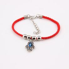 法蒂玛之手手链手工编织韩国丝韩版时尚珠子手串 单钻编织绳子