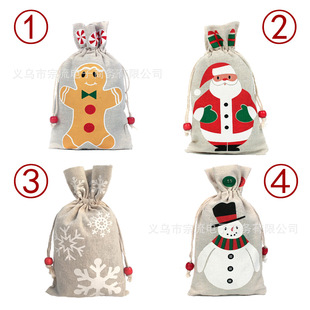 Spot cotton and linen bundle mouth can be loaded with apple Christmas bag Christmas gift packaging bag candy safe fruit storage bag
