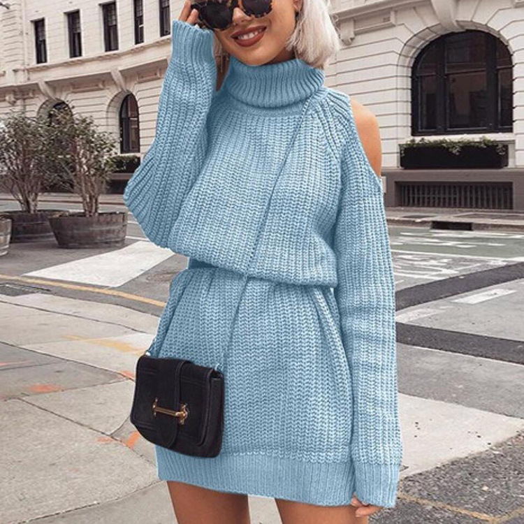 mid-length high-neck off-the-shoulder sweater dress nihaostyles wholesale clothing NSMMY82813