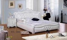 欧式软包床太子双人床1.8米实木雕花白色皮艺软体家具