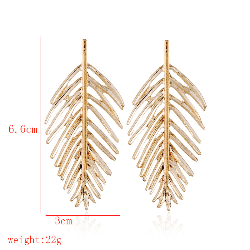 Womens Retro temperament wild Leaf Plating Alloy Earrings NHNZ121977