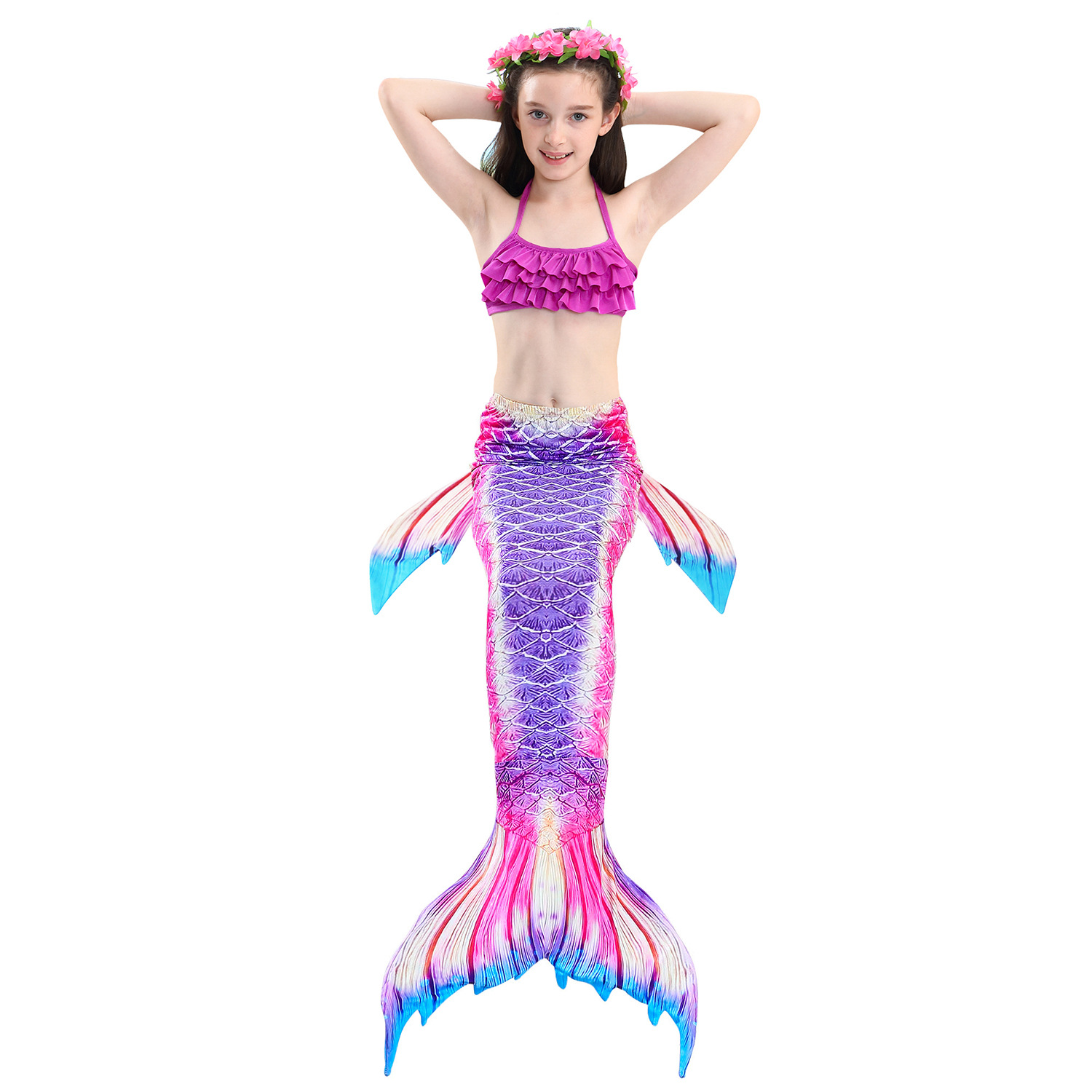 9282511528 898390851 - 4PCS/Set HOT Kids Girls Mermaid Tails with Fin Swimsuit Bikini Bathing Suit Dress for Girls With Flipper Monofin For Swim