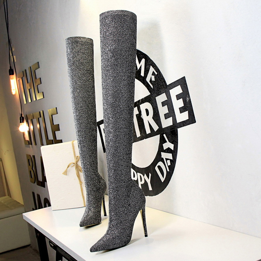 Details about  /New European and American over-the-knee boots with pointed elastic high heel and