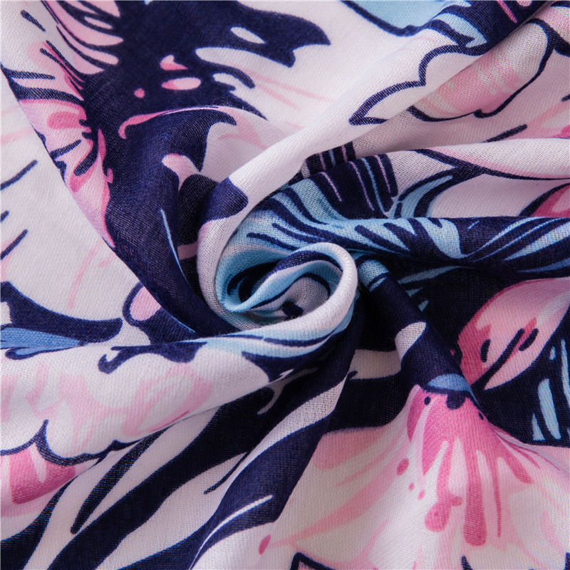 New blue pink flower cotton linen shawl scarf women dual-use air conditioning sunscreen scarf beach towel NHGD199203