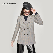 Plaid suit jacket female spring and autumn new casual slim temperament ladies long sleeve short suit