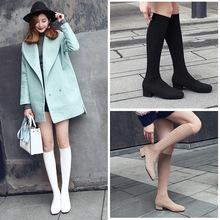 针织袜靴弹力女式靴 新款黑?#21672;?#30334;搭秋季冬加绒过膝长筒靴女 平底