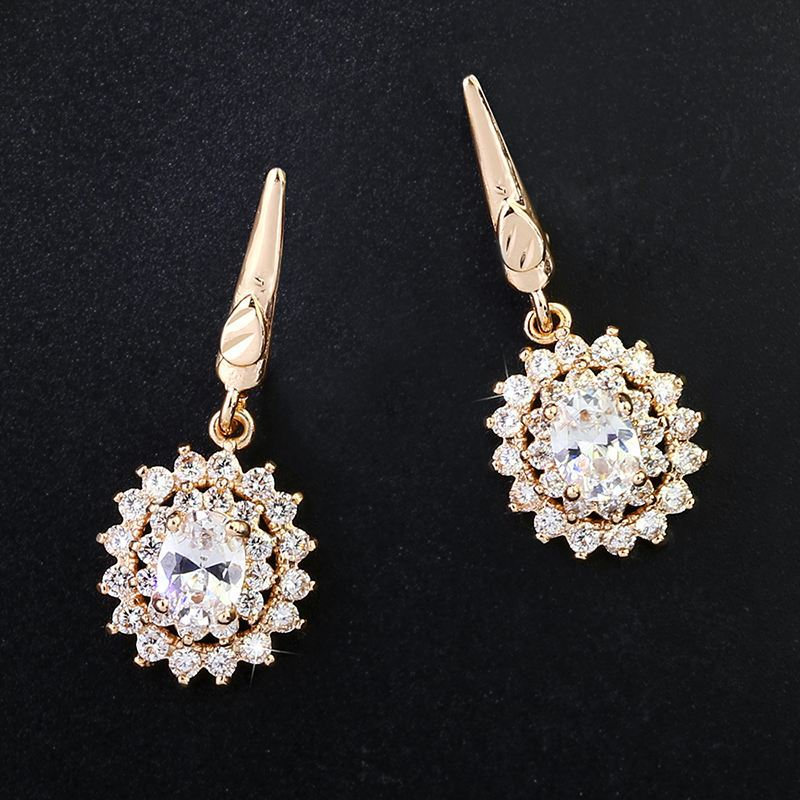 Zircon Earrings Hypoallergenic Gold Plated Ear Pins wholesales fashion NHAS181828