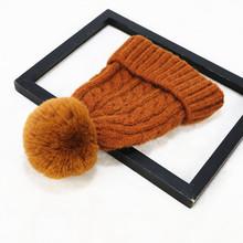 韩国秋冬款套头帽毛球羊毛毛线帽?#20248;?#20908;天可爱加厚保暖麻花针织帽