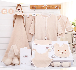 Processing and customizing infant color cotton suit cotton newborn baby gift box sweat-absorbent and breathable baby suit clothes manufacturer