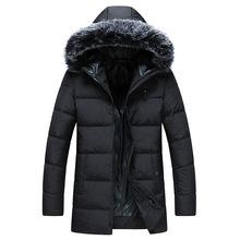 90%白鸭绒羽绒服男中长款2018新款韩版青年毛绒加厚连帽男士外套