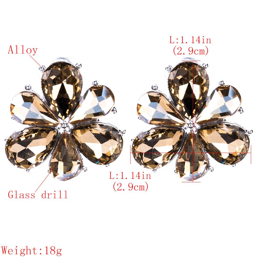Fashion Alloy Diamond earring Flowers (white)NHJE1081-white