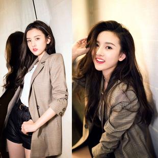 Сетка костюм пальто девочки длинная модель корейский 2019 осенью новый случайный тонкий темперамент плед ретро костюм