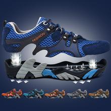 夏季休閑網鞋情侶鞋子網布鞋透氣運動鞋大碼戶外徒步鞋網面登山鞋