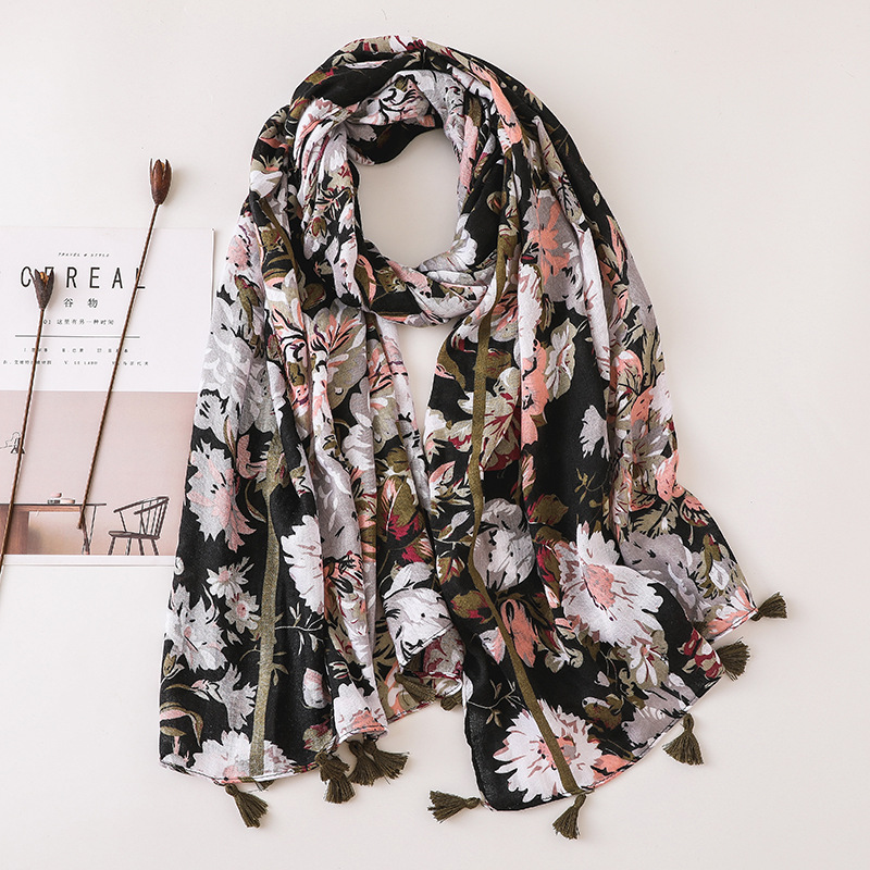 Bohemian beach towel black flower cotton linen scarf ethnic style shawl women NHGD199211