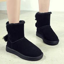 秋冬新款蝴蝶结真皮雪地靴女冬季加绒加厚平底短靴甜美风保暖棉鞋
