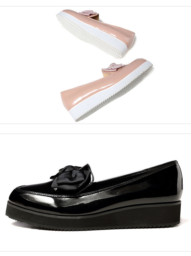 Cute bow patent leather casual short heel NHPL157369