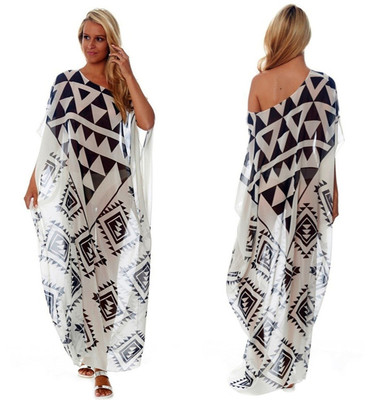 Chiffon black and white print beach dress inclinded shoulder sexy plus size vacation dress anti-sat bikini swimsuit outer blouse coat