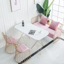 厂家定制ins风简约椭圆餐桌餐厅休闲咖啡甜品店金色长桌椅组合