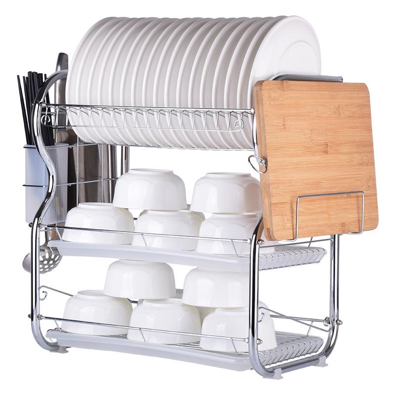三层碗碟架沥水架多功能碗盘架插刀菜板架 厨房置物架 收纳架