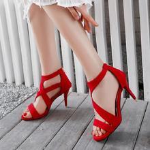 美鞋夏季婚鞋舞臺紫色紅色后拉鏈大碼涼鞋 40-43 小碼 32 yya