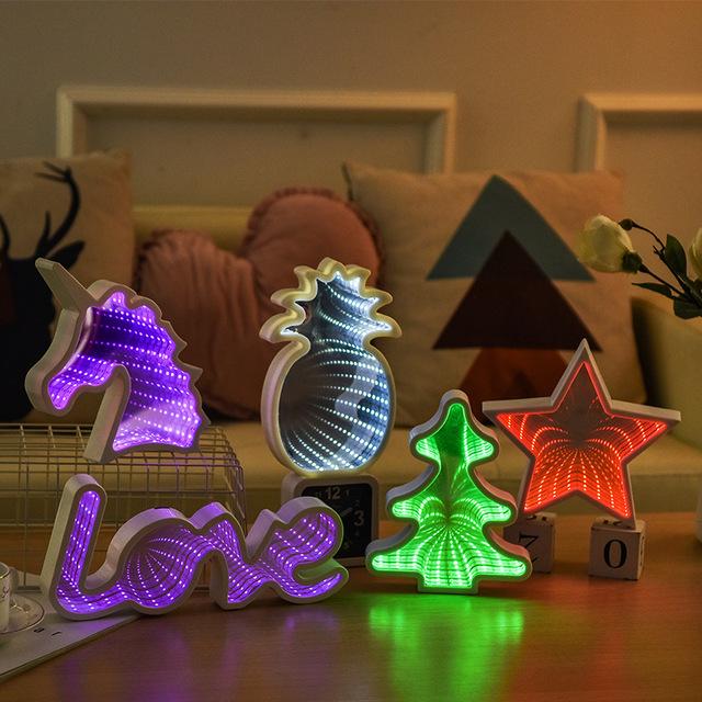 儿童装饰灯 少女心时光隧道镜面灯 动物造型灯 家装摆件