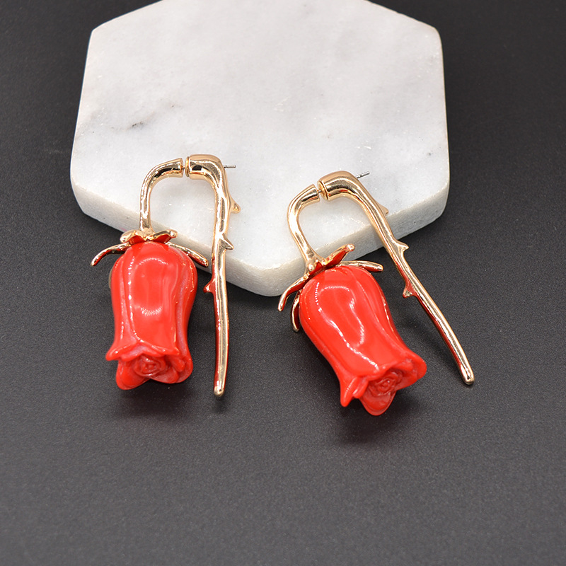 Alloy Vintage Flowers earring  red NHNT0641red