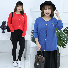 Autumn and winter new large size women's fat mm was thin solid color to increase fat sweater cardigan QYM071