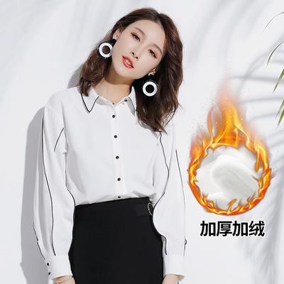 2019春装新款精品女装气质长袖开衫撞色心机灯笼袖直筒雪纺衬衫女