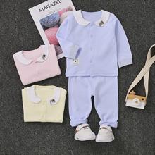 嬰兒衣服純棉內衣套裝兒童秋衣秋褲0-1男女寶寶開衫睡衣童裝秋冬