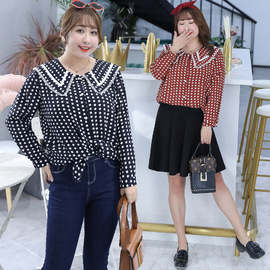 Autumn new fashion wave point shirt temperament long-sleeved shirt large size women's clothing  6640