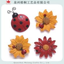 3D手工彩绘花朵 七星瓢虫磁吸 滑稽的动物冰箱磁铁 树脂冰箱磁铁