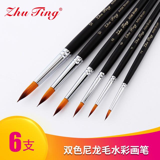 厂家直销6支尖锋双色尼龙毛画笔 亚光黑色杆水彩笔 PVC袋画笔套装