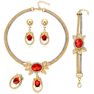 Manufacturers supply European and American hot-selling jewelry fashion banquet necklace earrings bracelet four-piece jewelry in stock