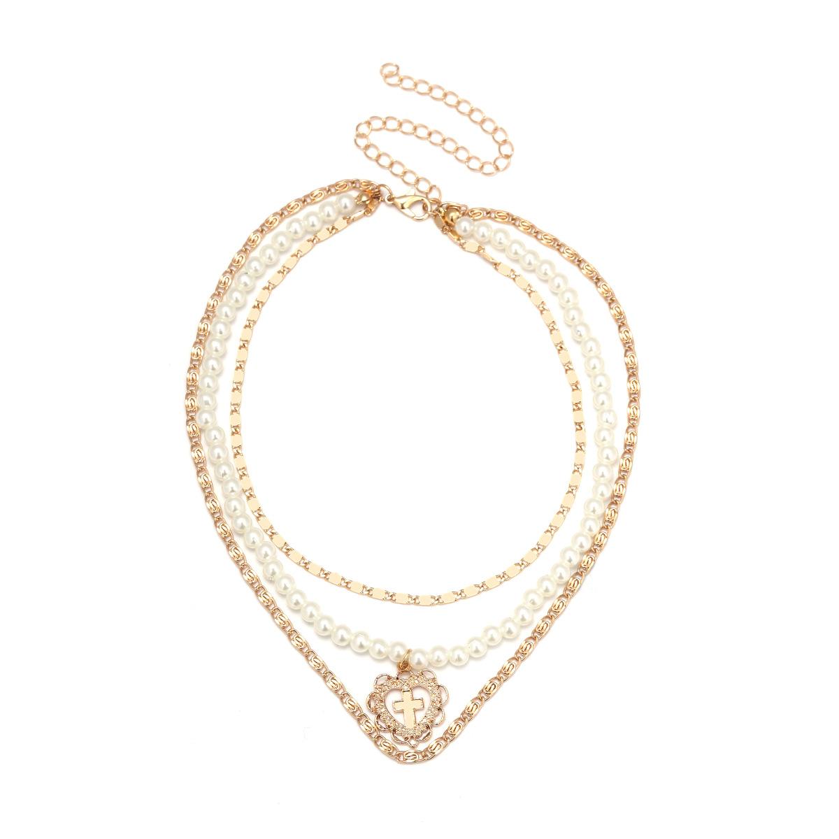 Alloy Fashion Sweetheart Clavicular chain(Golden) NHXR2261-Golden