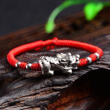 紅繩手鏈純銀貔貅金剛結手工編織紅手繩本命年情侶手鏈男女批發
