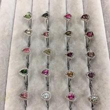 天然碧璽戒指 925銀鑲嵌 晶體通透 顏色鮮艷 開口可調節 廠家直銷