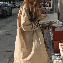 一件代发新款韩版INS人气款 宽松 随性 简约 中长款 风衣 外套