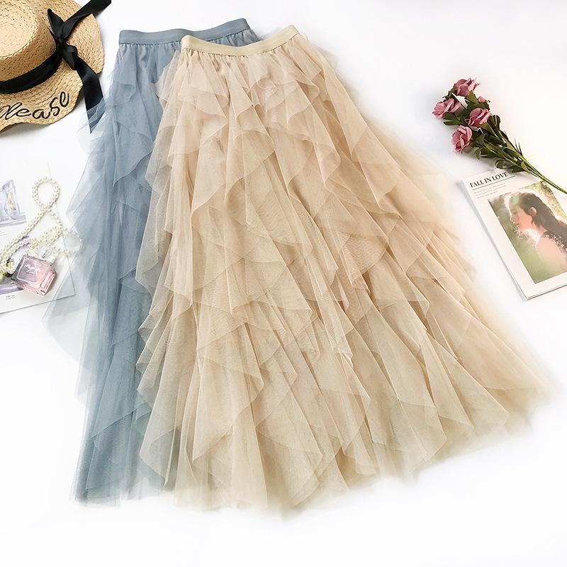 重工艺 新款波浪不规则层次感蛋糕裙 网纱蓬蓬半身裙高腰仙女长裙