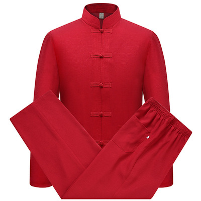 chinese Tang suit tops for male Chong men long sleeve shirt national costume suit